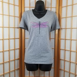 Life Is Good Dragonfly Crusher V-neck Tee
